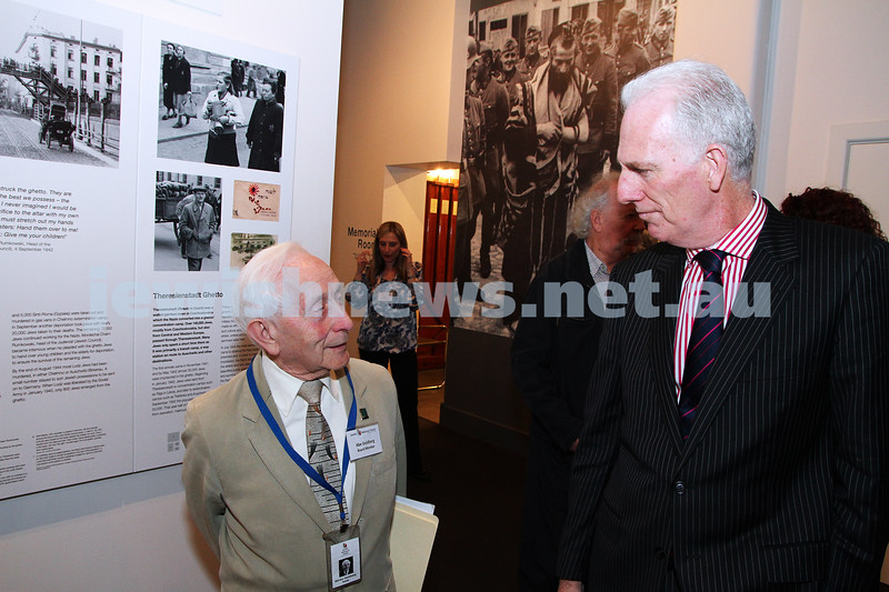 23-8-12. Victorian Minister for Education Martin Dixon (right) visits the Holocaust Museum. Pictured here with survivor Abe Goldberg. Photo: Peter Haskin