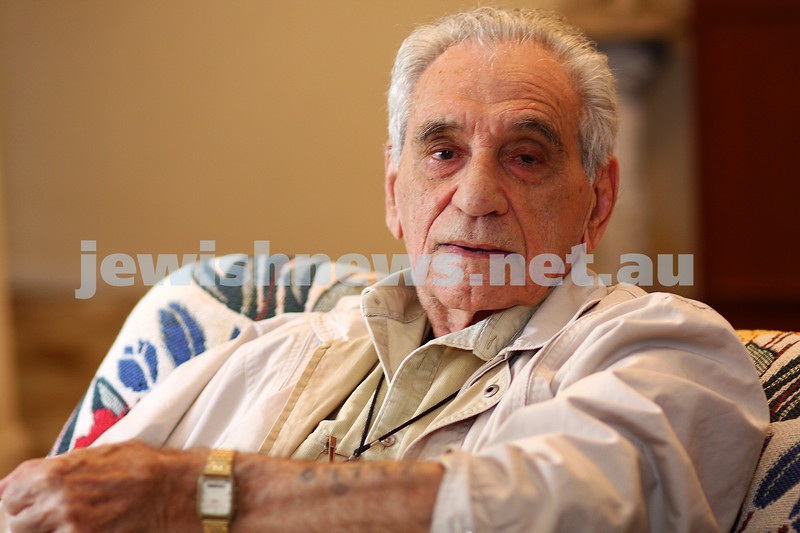 18/1/10. Holocaust survivor George Ginzburg showing the tatoo on his arm. photo: peter haskin