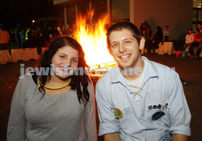 Bnai Akiva Lag B'omer celebrationa at Mizrachi. Avital Greenberger, Jacob Wytwornik. photo: peter haskin