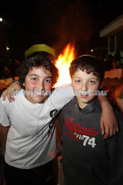 Bnai Akiva Lag B'omer celebrationa at Mizrachi. Ethan Kemelman (left), Zak Josefsberg. photo: peter haskin