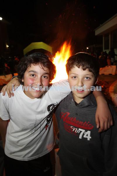 Bnai Akiva Lag B'omer celebrationa at Mizrachi. Ethan Kemelman (left), Zak Josefsberg. photo: peter haskin