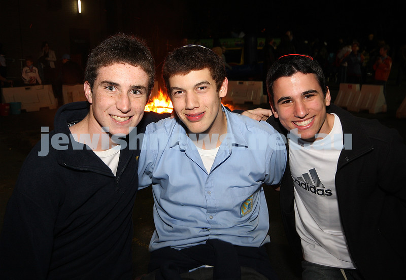 Bnai Akiva Lag B'omer celebrationa at Mizrachi.From left: Daniel Wein, Ari Fisher, Asher Parkes. photo: peter haskin