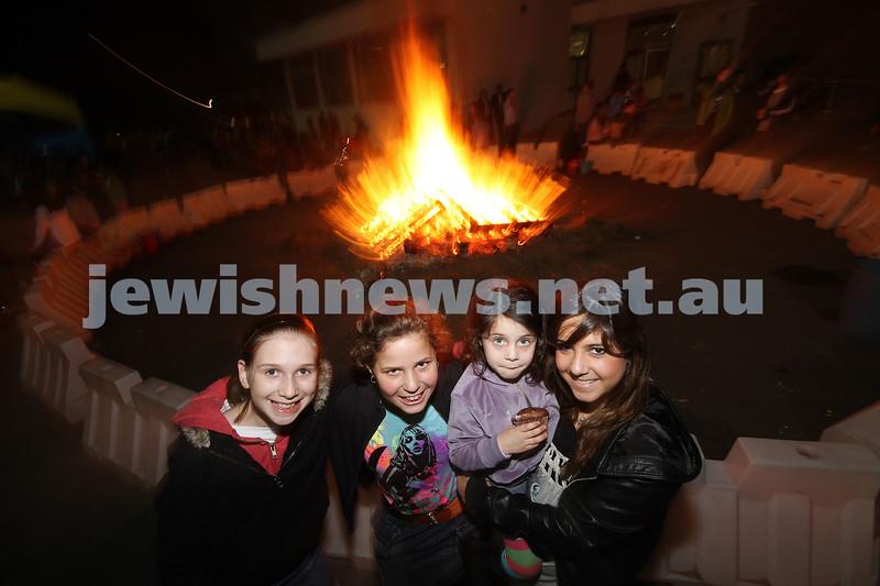 Bnai Akiva Lag B'omer celebrationa at Mizrachi. From left: Sarah Winthrope, Lele Kaltmann, Ashira Junger, Taly Rink. photo: peter haskin