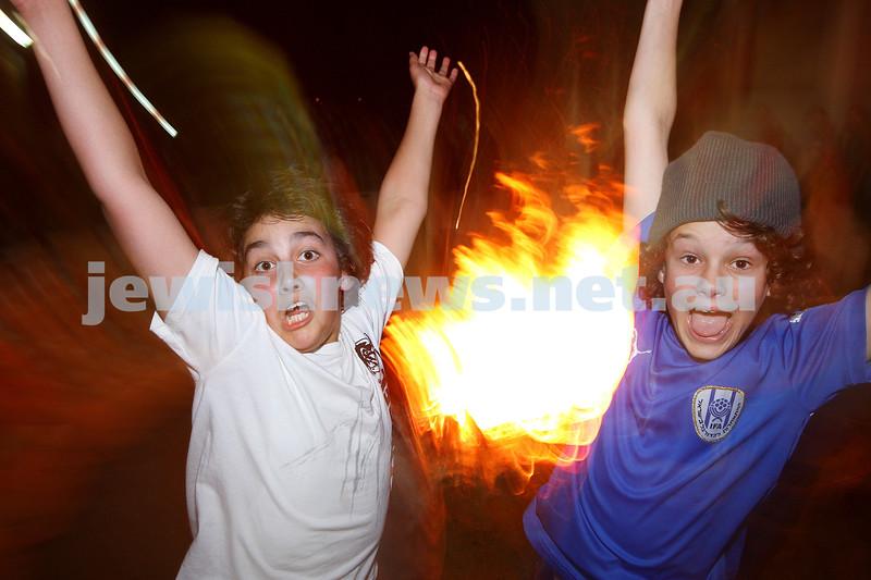 Bnai Akiva Lag B'omer celebrationa at Mizrachi. Ethan Kemelman (left), Ryan Kuperholz .photo: peter haskin