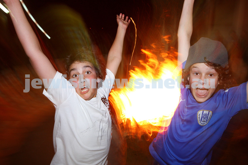 Bnai Akiva Lag B'omer celebrationa at Mizrachi. Ethan Kemelman (left), Ryan Kuperholz .photo: peter haskin