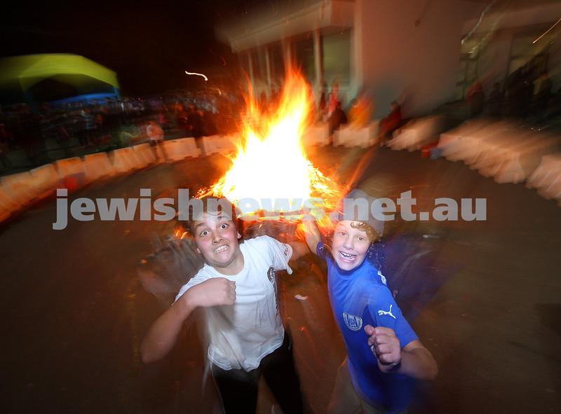 Bnai Akiva Lag B'omer celebrationa at Mizrachi. Ethan Kemelman (left), Ryan Kuperholz. photo: peter haskin