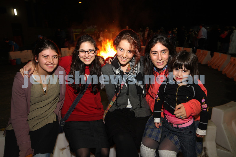 Bnai Akiva Lag B'omer celebrationa at Mizrachi. From left: Shira Lasarow, Sarah Eizenberg, Nomi Kaltmann, Ilia benattar, Amira Kacser. photo: peter haskin