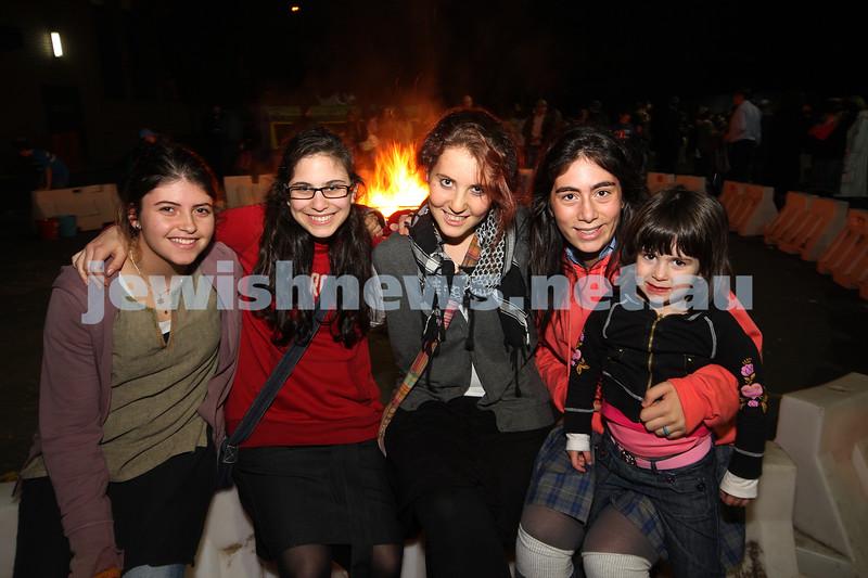 Bnai Akiva Lag B'omer celebrationa at Mizrachi. From left: Shira Lasarow, Sarah Eizenberg, Nomi Kaltmann, Ilia benattar, Amira Kacser. photo: peter haskin