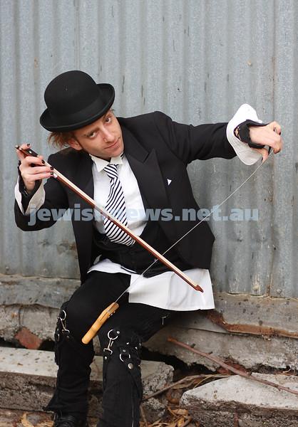 David Rosenblatt. Grand final of Australia's Got Talent. Playing the saw. photo: peter haskin