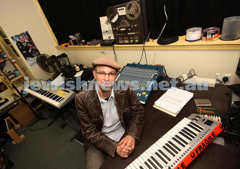 "12/5/09. Russell Goldsmith. 2009 Tony Nominated for best sound design of a play. ""Exit the King"" with Geoffrey Rush. Russell sitting in the studio at the Malthouse Theatre where he created the sound design for ""Exit the King"". photo: peter haskin"