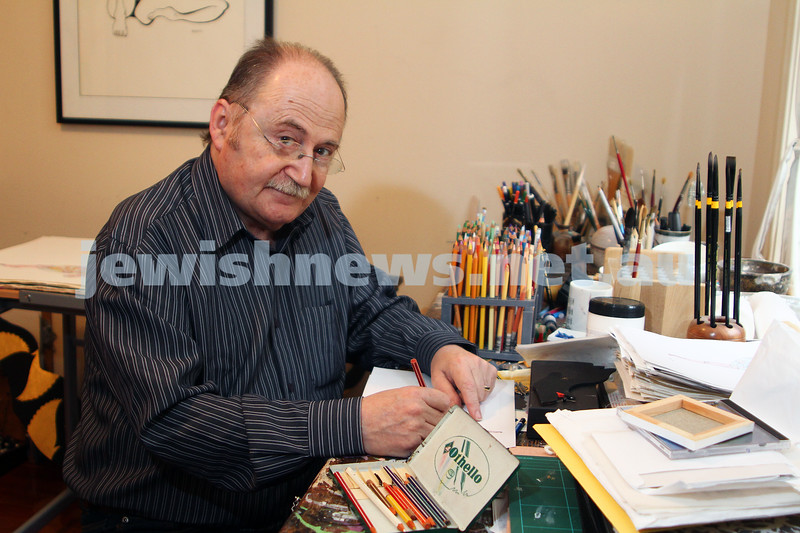 13-5-11. Artist Ben Elisha working at his home studio with the pencils he rediscovered from his youth. Photo: Peter Haskin