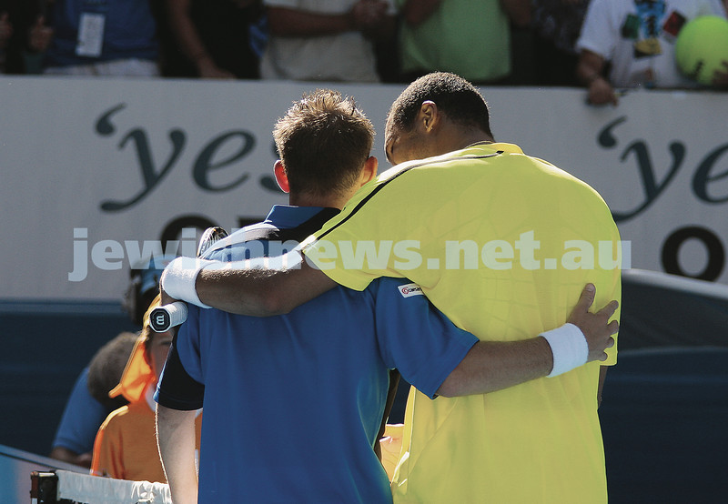 Dudi Sela (left) after his third-round loss to rising French star Jo-Wilfried Tsonga.<br /> Photo: Peter Haskin