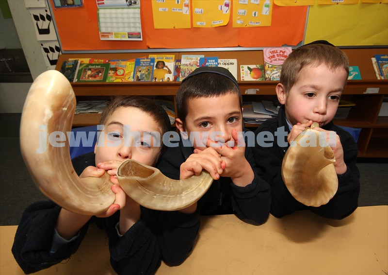 1/9/09. Yeshivah Prep boys (from left: Avi Eckstein, Mendel Ledder, Dovi Glasman) practice blowing the shofar in preparation for Rosh Hashana. Photo: Peter Haskin