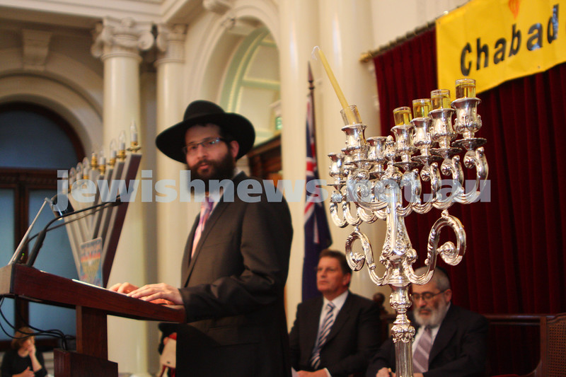 14/12/09. Chanukah at Victorian Parliament House. Rabbi Chaim Herzog and menorah. photo: peter haskin