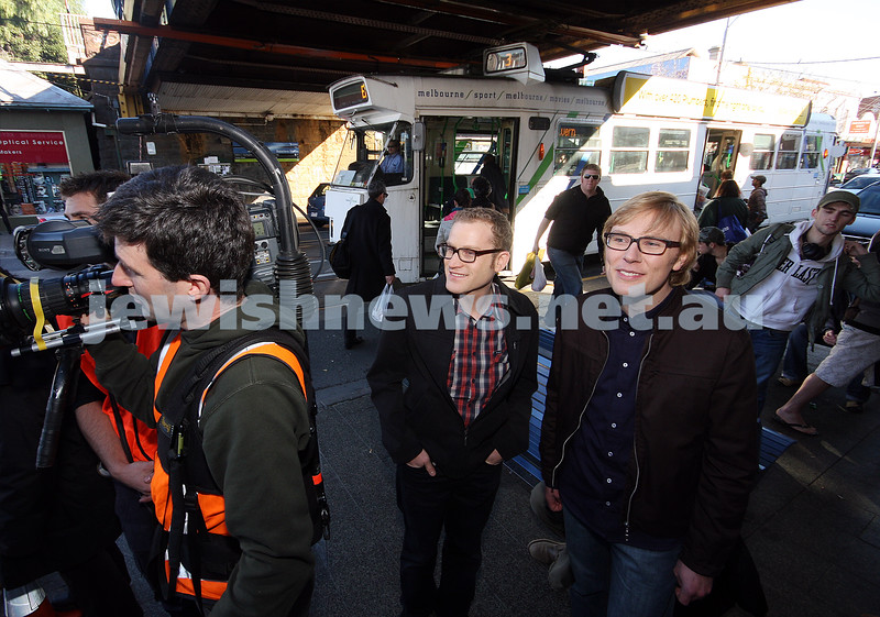 18/6/08. Safran in Carlisle St. Comedian John Safran (left), talks with actor Justin Hazelwood during the shooting of his latest TV show.