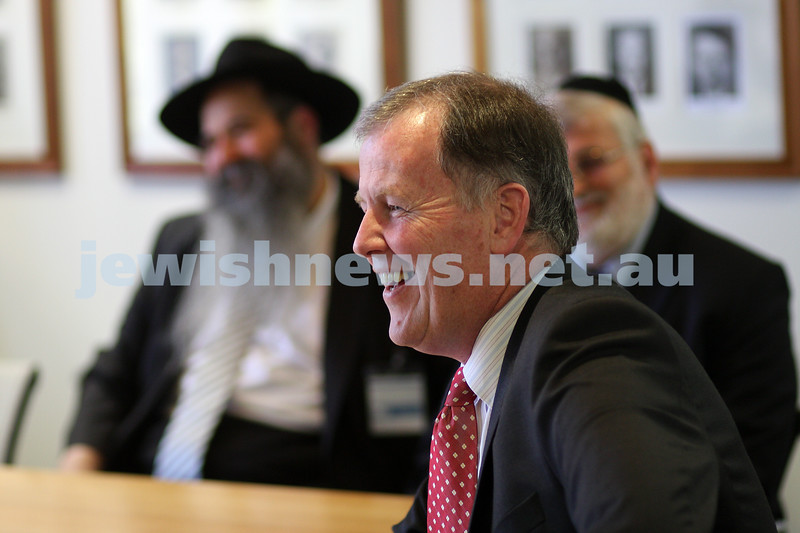 23/10/09. Deputy premier Rob Hulls meets with the Rabbinical Council of Vctoria. In the background Chaim Zvi Groner (left),  photo: peter haskin
