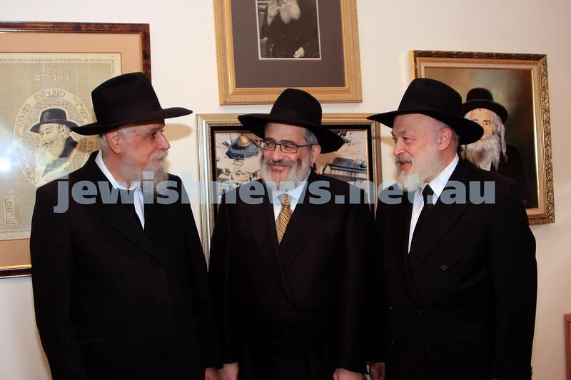 20/10/09. On the occasion of  Chana's Gutnick's marriage to Ari Herzog.  From left: Rabbi Bimyomin Klein,  Rabbi Joseph Gutnick, Rabbi Yehuda Krinsky. photo: peter haskin.