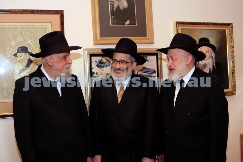 20/10/09. On the occasion of  Chana's Gutnick's marriage to Ari Herzog.  From left: Rabbi Bimyomin Klein,  Rabbi Joseph Gutnick, Rabbi Yehuda Krinsky. photo: peter haskin.