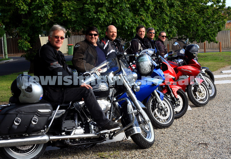 4/10/09. Jewish motor cycle group Yids On Wheels YOW. From left: David Halprin, Glen Wainrib, Stuart Conway, Richard Phillips, Jeff Travers, Sam Bloomenstein. Photo: peter haskin