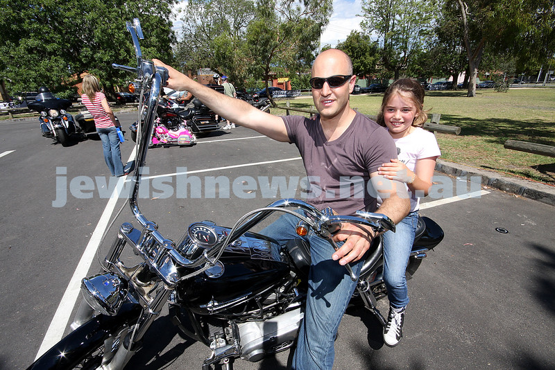 Yids On Wheels ( YOW). 10th anniversary get together at Caulfield Park. 18/11/07. Damian and Isabella Salvatore. 1972 Shovel Head Harley Davidson, awarded best bike of the day. photo: peter haskin