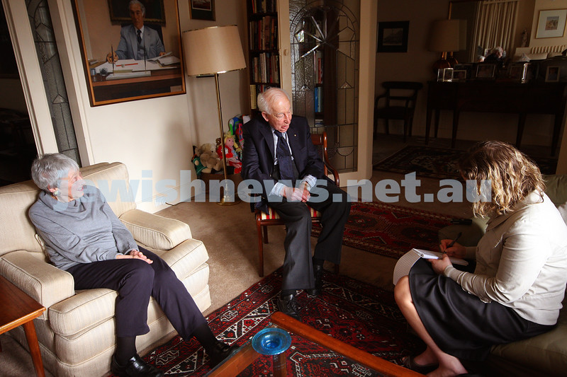 24/9/09. Interview with Sir Zelman Cowan at his home in Grange Rd Toorak on the occasion of his 90th birthday. Pictured with Lady Anna Cowen and Naomi Levin. photo: peter haskin