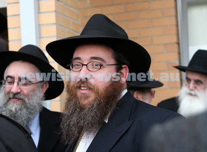 Memorial service for Rabbi Yitzhok Dovid Groner, Yeshivah College, Melbourne. July 9, 2008. Rabbi Yossi Engel spotted at memorial. photo: peter haskin