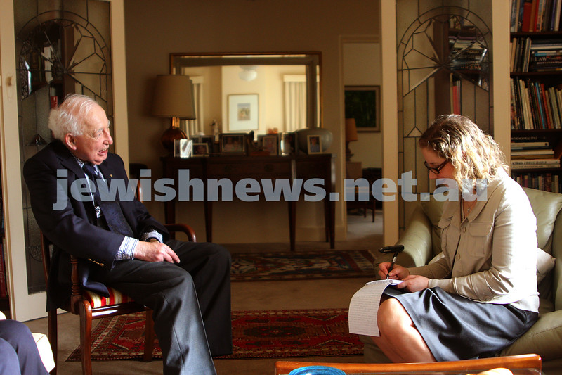24/9/09. Interview with Sir Zelman Cowan at his home in Grange Rd Toorak on the occasion of his 90th birthday. Pictured with Naomi Levin. photo: peter haskin