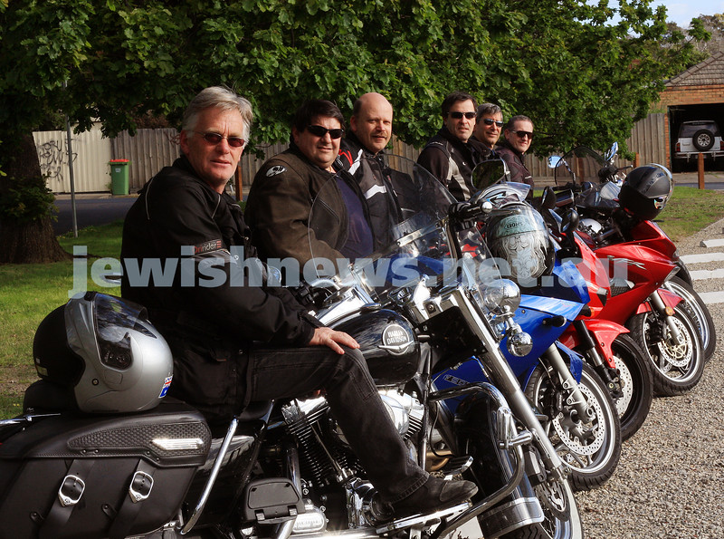 4/10/09. Jewish motor cycle group Yids On Wheels YOW. From left: David Halprin, Glen Wainrib, Stuart Conway, Richard Phillips, Jeff Travers, Sam Bloomenstein. Photo: peter haskin