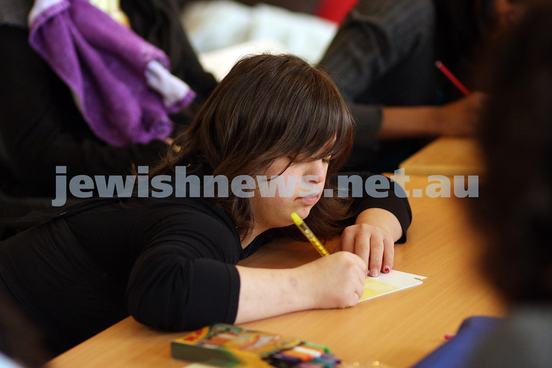 17/9/09. Access Group. Memebers of Access working at the Access shop on Inkerman Rd making Rosh hashanah cards. Racheli xxxx.<br /> photo: peter haskin