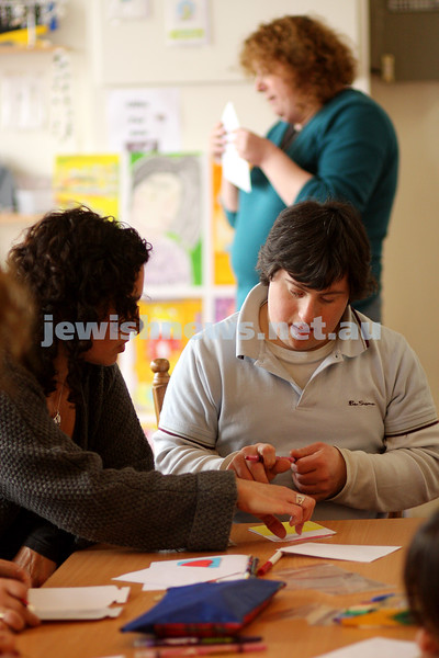 17/9/09. Access Group. Memebers of Access working at the Access shop on Inkerman Rd making Rosh hashanah cards. Zac Chester. photo: peter haskin
