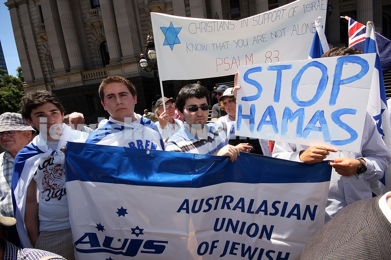 Rally to support Israel. Victorian Parliament House. 4-1-09. AUJS. photo: peter haskin