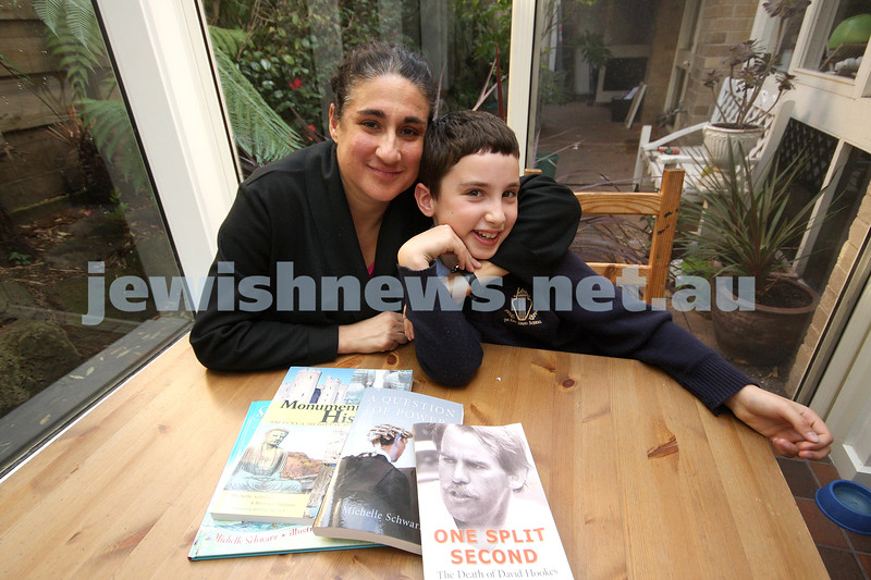 7/9/09. Michelle Schwarz and Raphael Danos (mother and son).<br /> Both were shortlisted for literary awards at the same time. photo: peter haskin