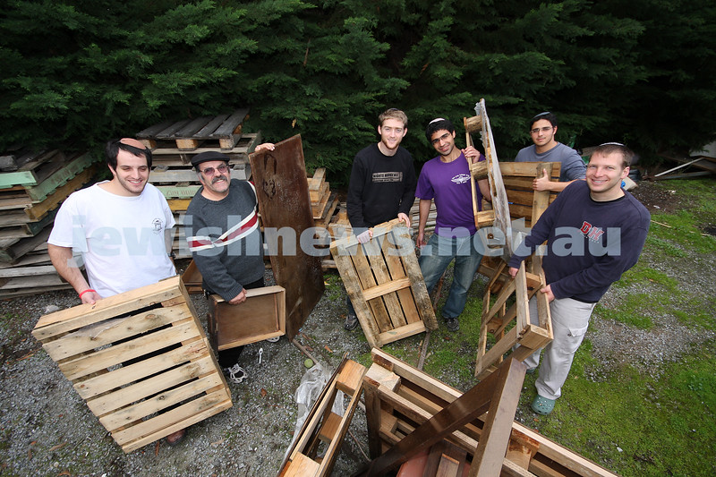 Preparing for Lag B'omer. Mizrachi's Hesder boys with Mizrachi caretaker Sam Paino getting the wood organised for the Lag B'omer bon fire. from left: Alon Kenig, Sam Paino, itamar shahar, yaniv protan, shai manela, moshe pinto . photo: peter haskin