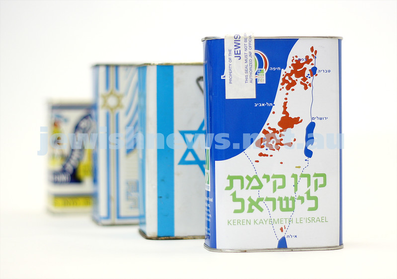 JNF Blue Box's over the years. photo: peter haskin