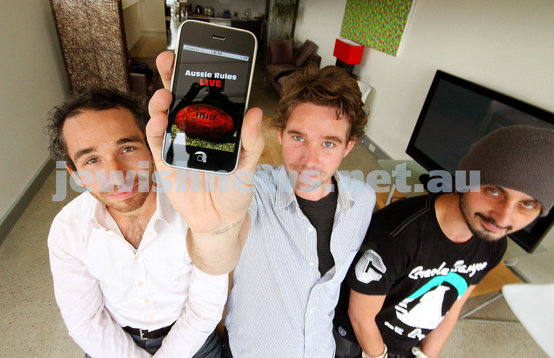 I phone. Aussie Rules live app. From left: Daniel Kagan, Patrick Fitzgerald,Nathaniel Orchis. photo: peter haskin