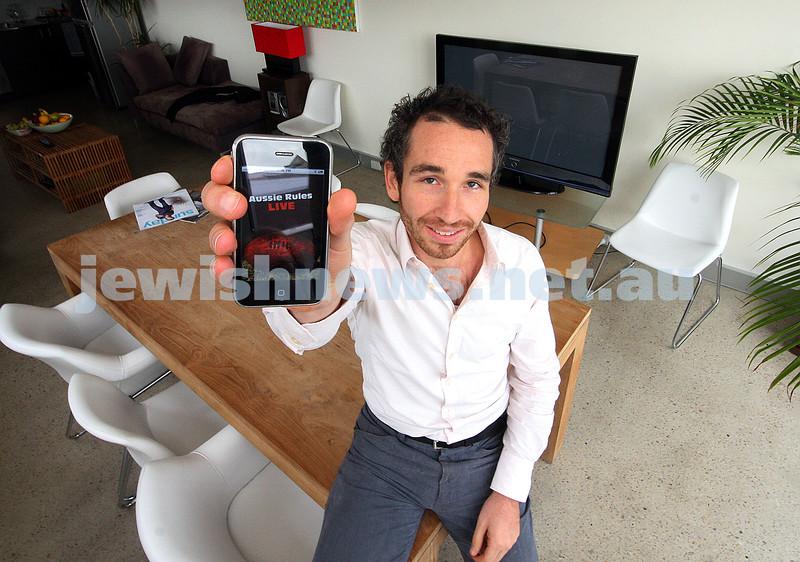 I phone. Aussie Rules live app. Daniel Kagan. photo: peter haskin