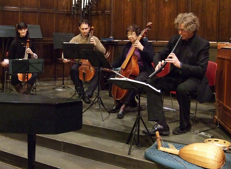 NEW YORK CONSORT OF VIOLS.     GEMS Live! showcase concert, January 11, 2009, NYC.  Photo by Charles Coldwell.