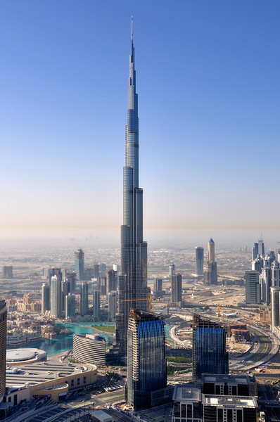 Burj Khalifa is the tallest building in the world, and the magnificent centerpiece of Downtown Dubai, a new, world-class destination. <br /> <br /> At over 800 metres (2625 feet) and more than 160 stories, Burj Khalifa holds the following records: <br /> •  Tallest building in the world <br /> •  Tallest free-standing structure in the world <br /> •  Highest occupied floor in the world <br /> •  Highest outdoor observation deck in the world <br /> •   57 elevator with the longest travel distance in the world<br />  <br /> I manage to take the photo from 79th floor of Index Tower which is near to Burj Khalifa.