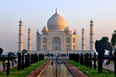 The Taj Mahal located in Agra, India,  built by  Mughal emperor Shah Jahan  in memory of his favorite wife, Mumtaz Mahal.   Building of Taj Mahal  began around 1632  and was completed around 1653.   6.45 AM FIRST  RAYS OF SUN SHINE  FALLING ON THE TAJ IT WAS A SPECTACULARS MOMENT