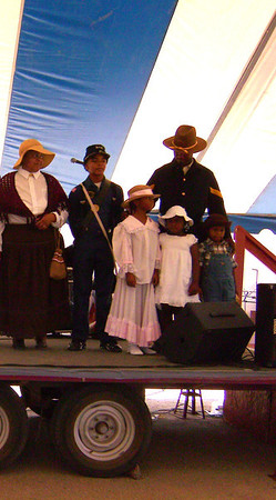 """Buffalo Soldiers of the Arizona Territory - Ladies and Gentlemen of the Regiment presentation at Ghostfield Ghost Town Festival """"National Day Cowboy"""", Apache Junction, AZ."""