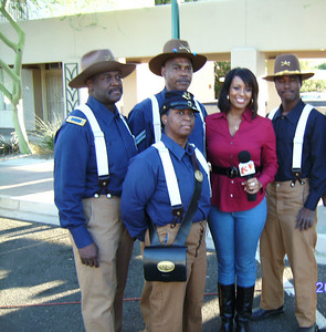 """Good Morning Arizona"".  Mesa Old West Day, Downtown Mesa, AZ.  L/R: Pvt. Michelle London-Marable, Cmdr Fred Marable, Sgt. James Gwin, Brittany Shipp 3TV News Reporter, Sgt. Edward Reece and Sgt. Major Charles Young."