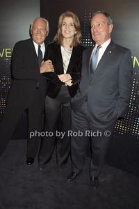 Giorgio Armani, Caroliine Kennedy, Mayor Michael Bloomberg   photo  by Rob Rich © 2009 robwayne1@aol.com 516-676-3939