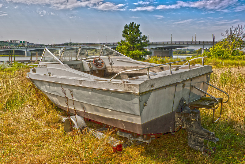BEACHED BOAT IN HDR EFFECT<br /> IMAGE 6907