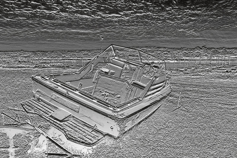 BEACHED BOAT IN RELIEF