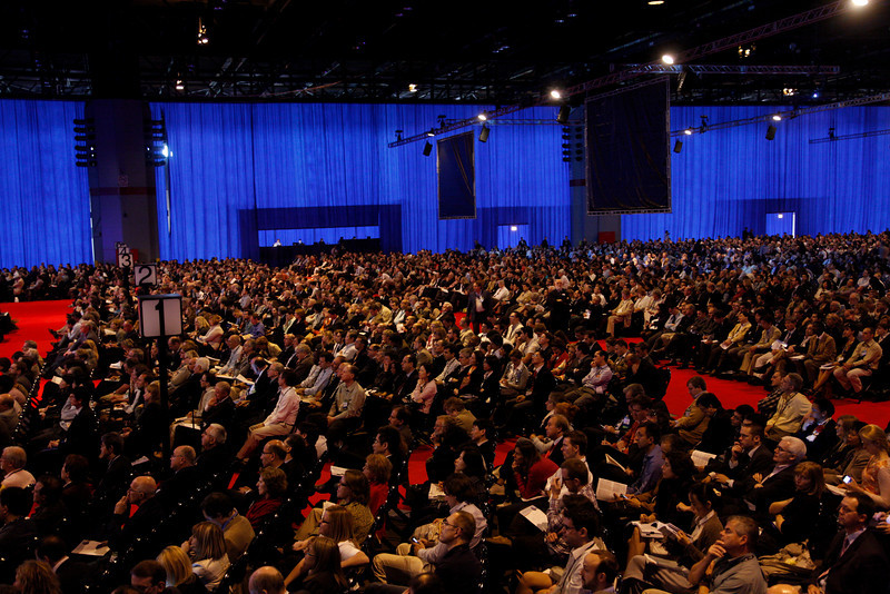 Chicago, IL - ASCO 2010 Annual Meeting: Crowd and general views during the Plenary Session at the American Society for Clinical Oncology Annual Meeting here today, Sunday June 6, 2010. Over 30,000  physicians, researchers and healthcare professionals from over 125 countries are attending the meeting which is being held at the McCormick Convention center and features the latest cancer research in the areas of basic and clinical science. Date: Sunday June 6, 2010 Photo by © ASCO/Todd Buchanan 2010 Technical Questions: todd@toddbuchanan.com; ASCO Contact: photos@asco.org