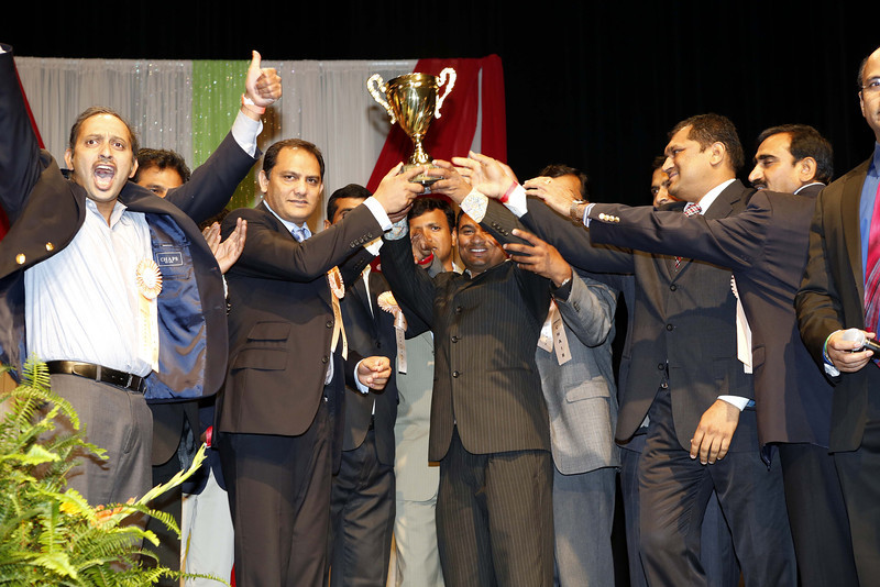 Mohammed Azheruddin former skipper and MP presenting ATA 2012 best Cricket team trophy during American Telugu Association 12th Conference and Youth convention Georgia World Congress Center on july6th 2012...pic Mohammed Jaffer/SnapsIndia