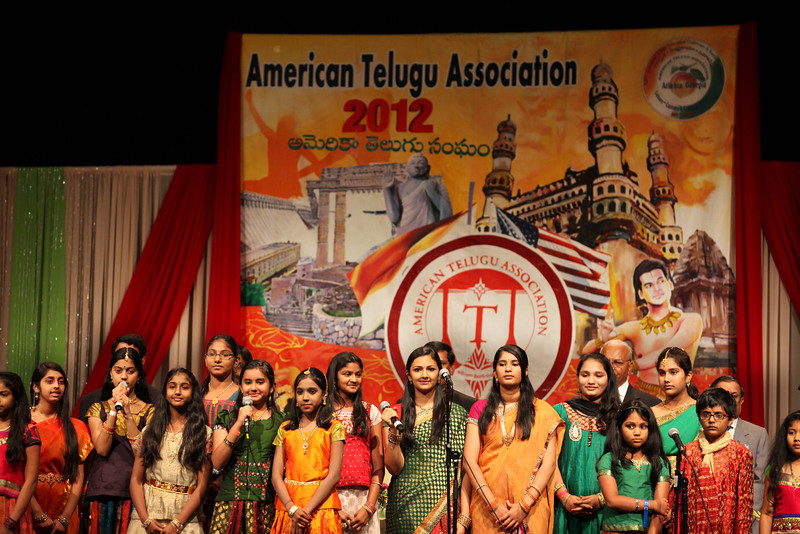 NRI Telugu girls singing opeaning songs  during American Telugu Association 12th Conference and Youth convention Georgia World Congress Center on july6th 2012...pic Mohammed Jaffer/SnapsIndia