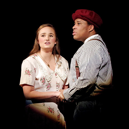 "Mark Maynard | for The Herald Bulletin<br /> In ""Down in the Valley"" presented by Anderson University, Kayla Brandt and Benjamin Burney star as ill-fated lovers Jennie and Brack."