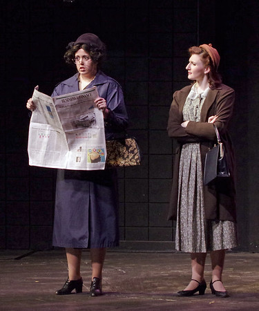 Mark Maynard | for The Herald Bulletin<br /> After reading an article in the local newspaper, Miss Todd (Ntalie Pridemore) realizes that the wanderer Bob, whom she has taken into her home, is actually a dangerous escaped criminal, as a perplexed Miss Pinkerton (Clare Lillig) looks on.