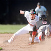Don Knight | The Herald Bulletin<br /> Anderson University's Jake Zurawski tags Rose-Hulman's Kody Alayon out as he attempts to steal second base on Tuesday.